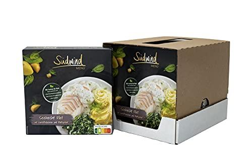 Seehecht Filet in Dillsauce mit Kartoffelpüree und Blattspinat – 6er Pack (6 x 400g) - Fertiggerichte für die Mikrowelle / Wasserbad - Südwind Lebensmittel