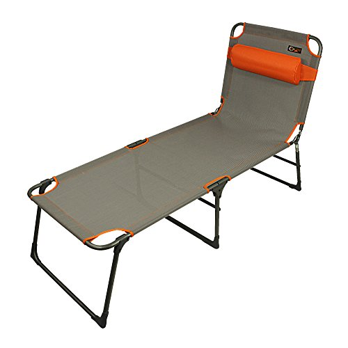 Portal Outdoor leichte klappbare Campingliege mit gepolsterter Kopfstütze und verstellbarer Rückenlehne – flach zusammenklappbar