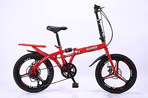 BBZZ Bicicleta Plegable 20/16 Pulgadas, la Silla es Ligera y cómoda, Adecuada para Hombres Adultos, Mujeres, Adolescentes, compradores, Frenos de Disco (amortiguadores duales),Rojo,20 Inches