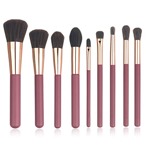 Make Up Pinsel Set Professionell Foundation Highlighter Lidschattenpinsel Kosmetikpinsel 9-Pieces Schminkpinsel mit Tasche