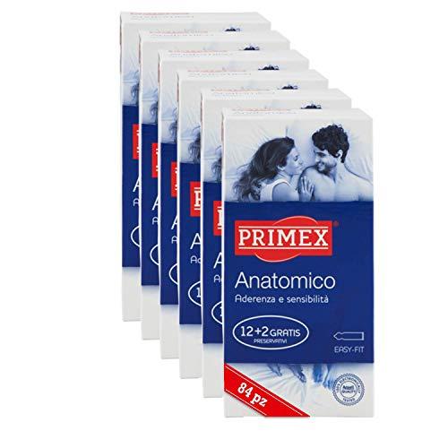 Primex 84Pz Anatomico, Preservativi Anatomici Easy On, in Lattice di Gomma Naturale, Anatomici, 6...