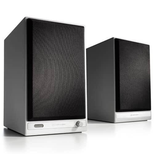 Audioengine HD6 Wireless Speaker | Desktop Monitor Speakers | Home Music System aptX HD Bluetooth, 150W Powered Bookshelf Stereo Speakers, AUX Audio, USB, Optical, RCA, 24-bit DAC (White)
