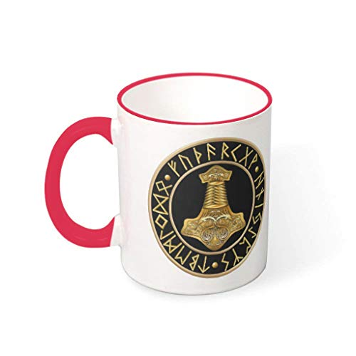 OwlOwlfan Viking Thor Hammer - Taza de cerámica de color dorado, taza de café divertida, taza de té con asa para café, bar, cumpleaños, festival, regalo para familiares y amigos, color rojo 1 330 ml