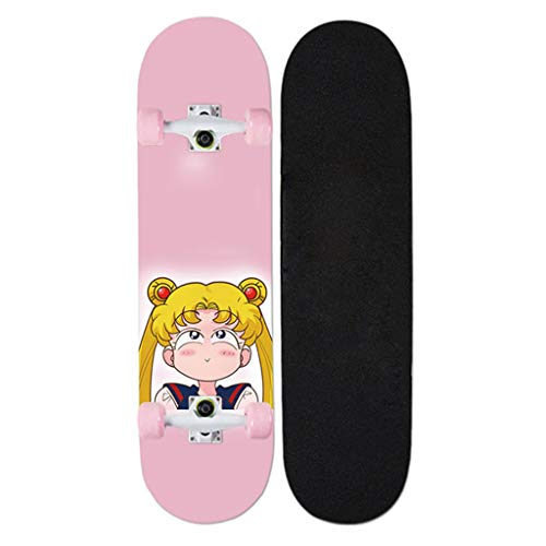 QINGQING Skateboard 7 Maple Deck Outdoor-Sport Für Kinder Und Anfänger Komplette Skateboards Sailor Moon Anime Serie 32 Zoll