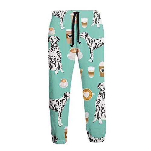 Selyee Dalmatians Cute Mint Coffee Best Dalmatian Dog Print Men's Big & Tall Athletic Sweatpant Training Pants Jogger
