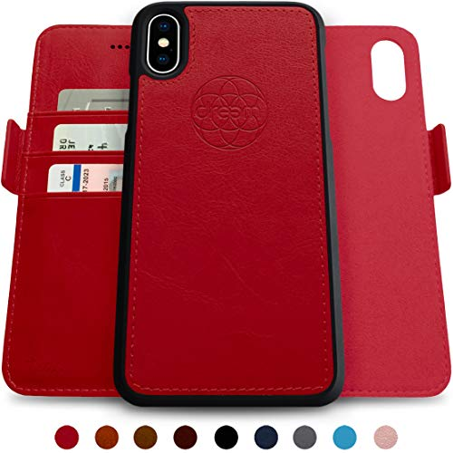 Dreem Fibonacci 2-in-1 Wallet-Case for iPhone X & Xs, Magnetic Detachable Shock-Proof TPU Slim-Case, RFID Protection, 2-Way Stand, Luxury Vegan Leather, GiftBox - Red