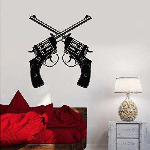 Tianpengyuanshuai Vinyl Wandtattoo Gun Shop Revolver Waffe Wandaufkleber Waffe Schießstand Wandmalerei 50X56cm