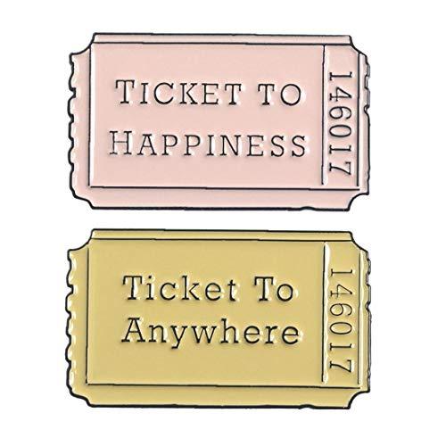 2pcs / Set Cartoon-Abzeichen Film-Karten Broschen Für Frauen Brief Ticket to Anywhere-Emaille Pin Taschen Schmuck Geschenke