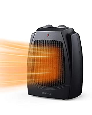 LENSOUL Space Heater, 1500W / 750W Portable Electric Room Heater with Adjustable Thermostat, Tip-Over & Overheat Protection, Quiet for Office Room Desk Indoor Use