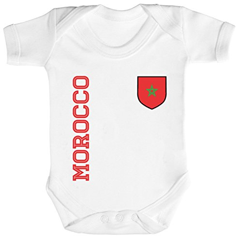 Marokko Fußball WM Fanshirt Gruppen Strampler Bio Baumwoll Baby Body kurzarm Jungen Mädchen Fan Trikot Morocco, Größe: 0-3 Monate,White