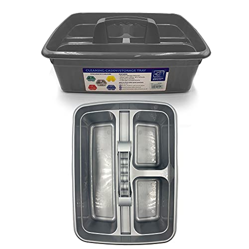 Cleaning Caddy with Handle Cleaners Caddy Organiser Carry Baskets for Cleaning Products (Silver)
