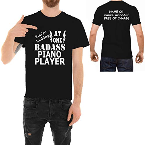 MGEAR Grappige Badass Piano Player Muziek Toetsenbord T-Shirt Aangepaste Tekst Gedrukt T-shirt voor hem Verjaardagscadeau