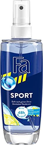 Fa Deo Zerstäuber Sport mit dem Duft von grünem Zitrus, 48h Schutz, 75 ml