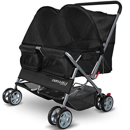 Paws & Pals Double Pet Stroller - 4 Wheels Lightweight Two Puppy, Dog & Cat Strollers - Best for...