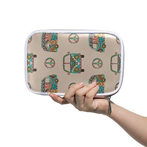 Étui à crayons personnalisé heureux rétro printemps romantique camping-car voiture petits sacs de maquillage pour femmes sacs de voyage cosmétiques sac de toilette multifonctionnel pour homm