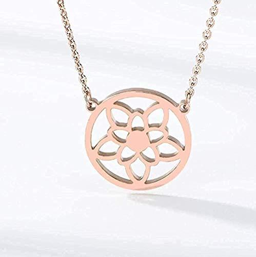 BACKZY MXJP Collar Flor De La Vida Collar Budista Cadena Semilla De La Vida Geometría Sagrada Joyería Collar De Flor De La Vida