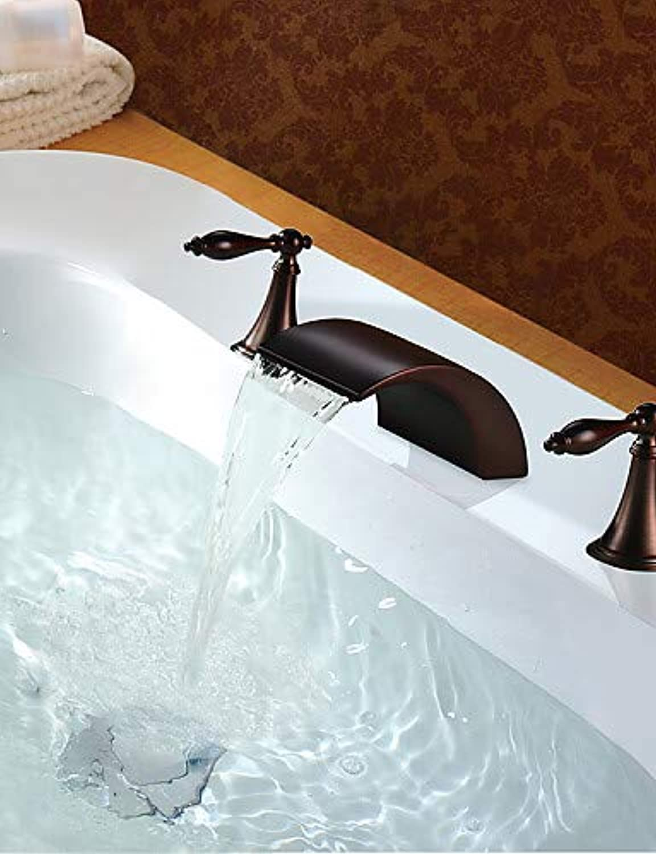 Mainstream home LPZSQ Tap Brass Oil-Rubbed Bronze Finish Dual Handles Basin Waterfall Faucet  18