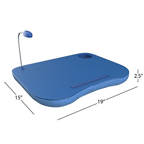 Laptop Lap Desk, Portable Tray With Foam Cushion, Adjustable LED Desk Light, and Cup Holder By Laptop Buddy (Blue)