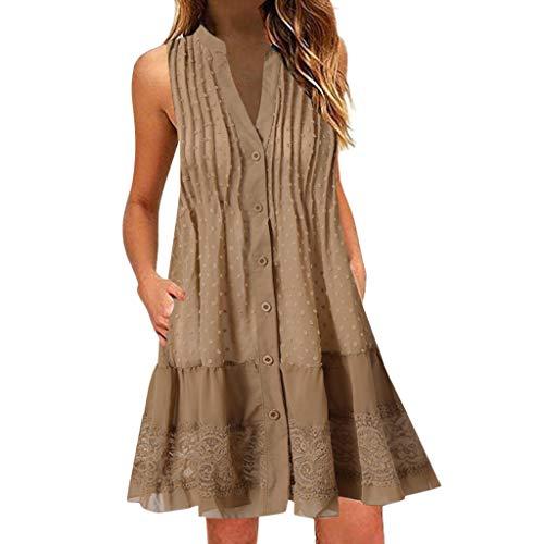 Carolui Plus Size Frauen V-Ausschnitt ärmelloses Minikleid Spitze aushöhlen Tank Kleider Taste Rüschen Strand Dreess(Khaki,L)