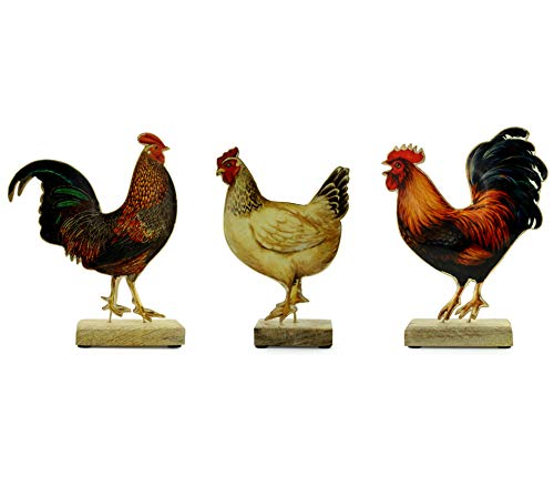 AuldHome Design Chicken Decor Set of 3 Chicken Figurines, Modern Farmhouse Rooster and Hen Ornament Set