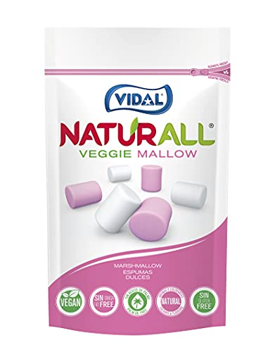 Vidal Golosinas. Naturall Veggie Mallow. Nubes Veganas Sabor . Color Rosa Y Blanco. Doypack, Vainilla, 90 Gramo