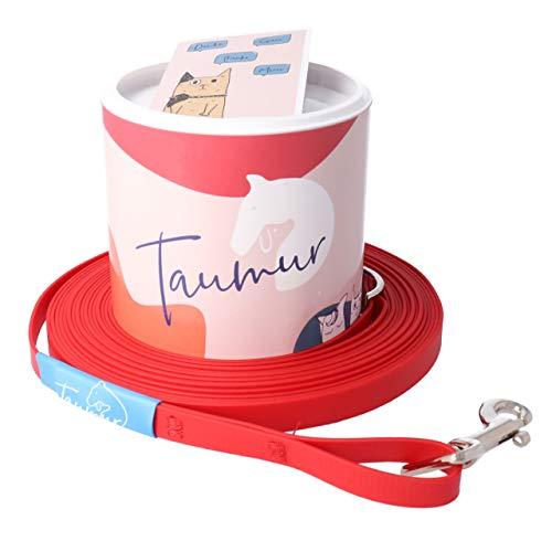 Taumur - sleeplijn van biotaan - extra lange hondenriem, rood