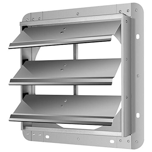 iPower 12-Inch Square Aluminum Automatic Gravity Shutter Louver Vent, Silver