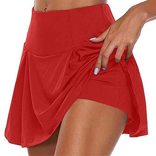 ELIAUK - Falda de golf para mujer, plisada, con pantalones cortos, para correr, para verano, color Rojo, tamaño Large