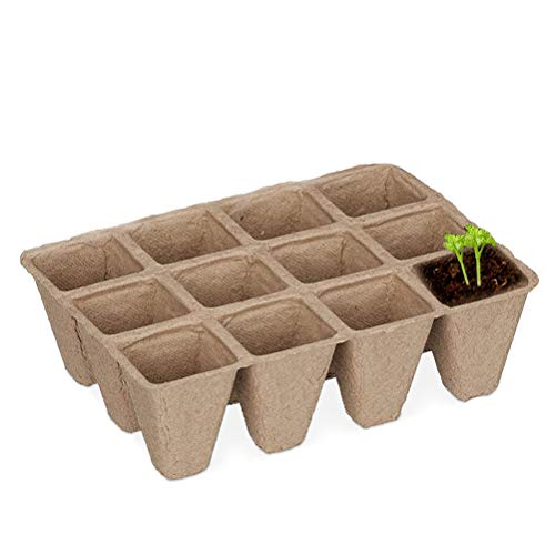 Hoonee Seed Tray, 12 Compartments Pulp Seed Tray, Disposable Nursery Tray, Gardening Seed Tray, Degradable Germination Container, 16 * 12 * 5cm