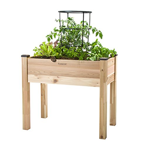 """CedarCraft Elevated Cedar Planter (18"""" x 34"""" x 30"""") - Grow Fresh Vegetables, Herb Gardens, Flowers & Succulents. Beautiful Raised Garden Bed for a Deck, Patio or Yard Gardening. No Tools Required."""