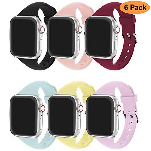 Cinturino Apple Watch Compatibile per Apple Watch 44mm 42mm 38mm 40mm, Cinturino Sportiva in Silicone Traspirante Cinturino Uomo e Donna per iWatch Serie 5 4 3 2 1-6 Colori B, 38mm/40mm