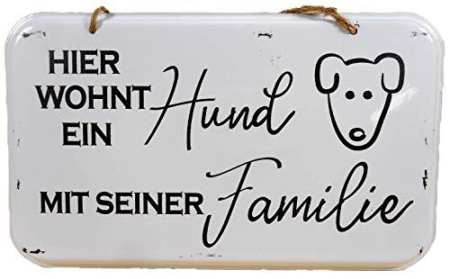 N / A Blechschild Hier wohnt EIN Hund mit Seiner Familie 20 x 12 cm Blech Schild Deko E194