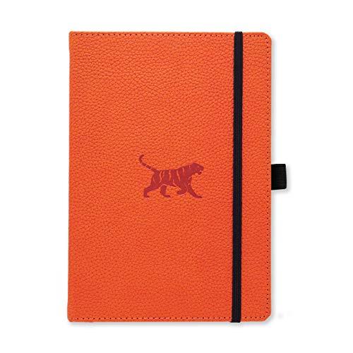 Dingbats D5023O Wildlife A5+ Hardcover Notizbuch - PU-Leder, Mikroperforiert 100gsm Creme Seiten, Innentasche, Gummiband, Stifthalter, Lesezeichen (Gepunktet, Orange Tiger)