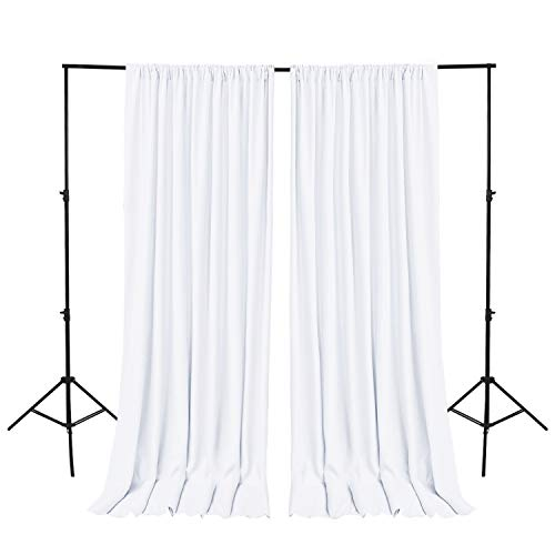 Hiasan White Backdrop Curtains for Parties, Polyester Photography Backdrop Drapes for Family Gatherings, Wedding Decorations, 5ftx10ft, Set of 2 Panels