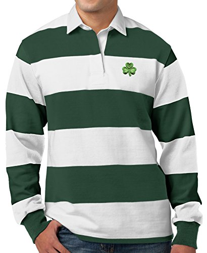 Mens Shamrock Patch Long Sleeve Rugby Polo Shirt (Pocket Print), 4XL White/Forest Green