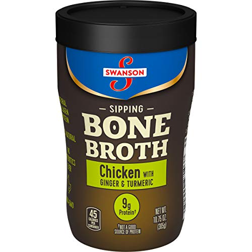 Swanson Sipping Bone Broth, Chicken Bone Broth with Ginger & Turmeric, 10.75 Ounce Sipping Cup (8 count)