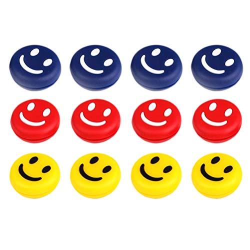 Amortiguador de vibraciones de tenis de 12 piezas, amortiguador, amortiguador ligero y resistente, amortiguador de raqueta de tenis lindo diseño de cara de sonrisa, amortiguador de tenis amortiguador