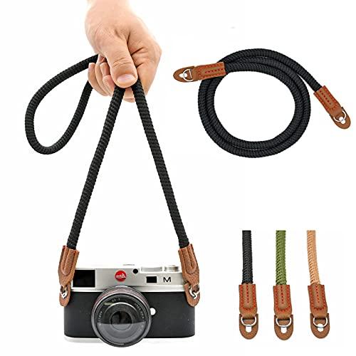 Universale tracolla fotocamera Fatto a mano Cotone cinghia reflex per Leica Canon Nikon Fuji Olympus Lumix Sony,Nero.