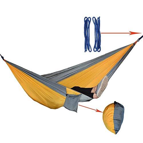Camping hangmat Multifunctionele Parachute Doek Hangmat Lichtgewicht Enkel Dubbel Hangmat Binnen Buiten Tuin Camping Leisure Travel camping hangmat (Kleur: Golden grijs, Maat: 270x140cm)