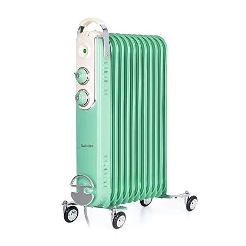 Klarstein Thermaxx Retroheat - Radiador de aceite, 2 reguladores, Termostato, Portacables, Luces LED, 4 ruedecillas, 3 niveles de calor, Potencia 2500 W, Hasta 50 m², 50 x 67,5 x 27 cm, Verde