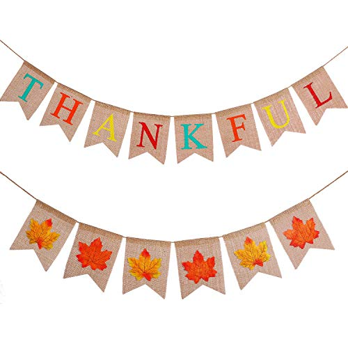 Tatuo 2 Pieces Jute Burlap Thankful Banners for Thanksgiving Day, Celebration Party Bunting Happy Fall Fireplace Mantel Decoration