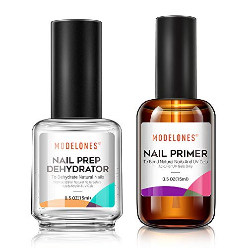 Modelones Nail Primer, Professional Natural Nail Prep Dehydrate & Bond Primer, Nail Protein Bond, Superior Bonding Primer for Acrylic Powder and Gel Nail Polish 15ml