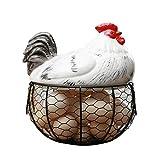 Aufbewahrungsbehältnis für Eier,Cartoon Eihalter aus Keramik,Fruchtkorb mit Deckel,Obstkorb Sammlung Keramik Hühnersprossen Dekoration Küche Lagerung Eierkorb