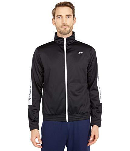 Reebok Training Essentials Trainingsjacke mit durchgehendem Reißverschluss, Linear-Logo, Schwarz/Weiß, M