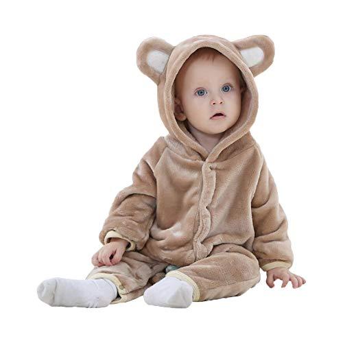 Unisex Pyjama Tier Strampler Kostüme Flanell Bekleidung Jumpsuit Schlafanzug Overall Baby Spielanzug (Bear Brown,70cm)