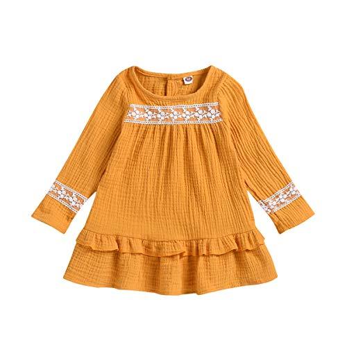 Transer Robe plissée de Couleur Unie à Manches Longues pour Filles pour Enfants Convient aux Enfants de 6 Mois à 3 Ans