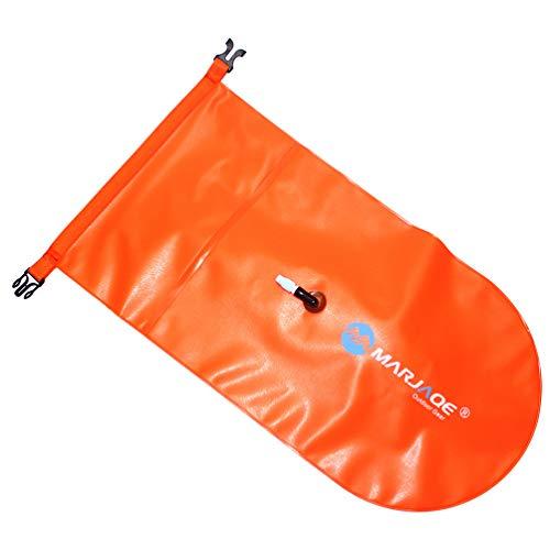 FAVOMOTO Boya de Natación 20L Thicken PVC Bolsas de Engranajes Impermeables para Deportes Al Aire Libre Bolsa Inflable Boya para Pesca en Kayak Rafting Natación Camping Rescuing (Naranja)
