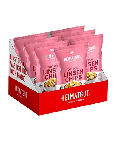 Heimatgut BIO Linsen Chips Sweet Chili, vegan & glutenfrei, Linsensnack, 7 x 75g Vorteilspackung
