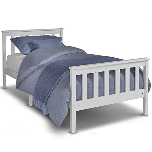 VonHaus Single Pine Bed - 3ft White Wooden Bed Frame with Slatted Base – Ideal for Students & Children – Headboard & Footboard Included