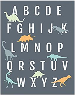 Dinosaur Alphabet Wall Art Print 8x10, Nursery Decor, ABC Poster, Kid's Room Decor, Gender Neutral Nursery Decor, Baby Room Decor, Playroom Decor, Children Wall Art, Dinosaur Nursery
